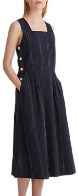 Toast Dobby Stripe Fitted Pinafore Dress, Deep Indigo/Light Pebble