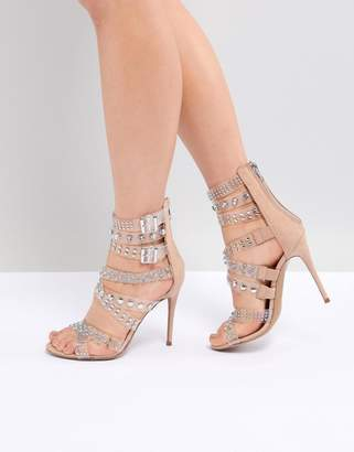 Steve Madden Moto Embellished Strappy Heeled Sandals