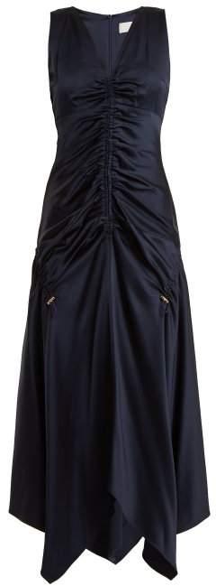 Ruched V-neck satin dress
