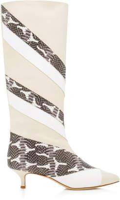 Tibi Hart Paneled Snake-Effect Leather Boots