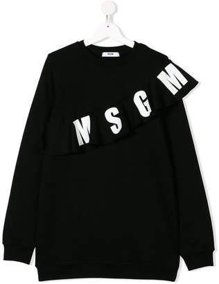 MSGM TEEN logo frill sweatshirt