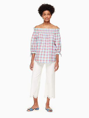 Kate Spade Madras Off Shoulder Top, Size XXS