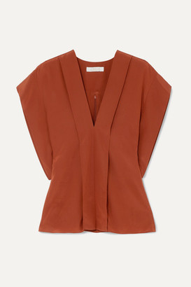 Chloé Draped Silk Crepe De Chine Blouse - Brown
