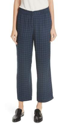 Eileen Fisher Check Straight Leg Silk Ankle Pants
