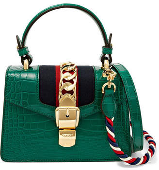 Gucci Sylvie Mini Chain-embellished Alligator Shoulder Bag - Emerald