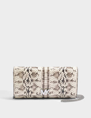 MICHAEL Michael Kors Mott Large East-West Clutch in Natural Marked Embossed Snake
