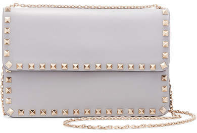 Valentino - The Rockstud Leather Shoulder Bag - Light gray
