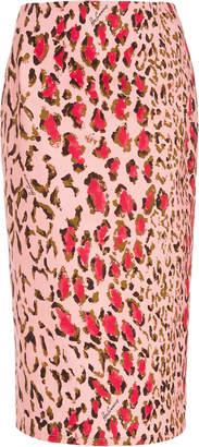 Carolina Herrera High-Waisted Leopard-Print Cotton-Blend Pencil Skirt