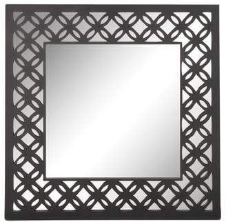 3.1 Phillip Lim DecMode Decmode Modern Inch Square Gray Wooden Framed Wall Mirror With Lattice Pattern Design, Gray