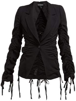 Ann Demeulemeester Drawstring Seam Tailored Wool Crepe Jacket - Womens - Black