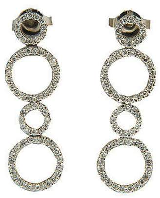 14K White Gold with 0.70ct Diamond Circle Dangle Earrings