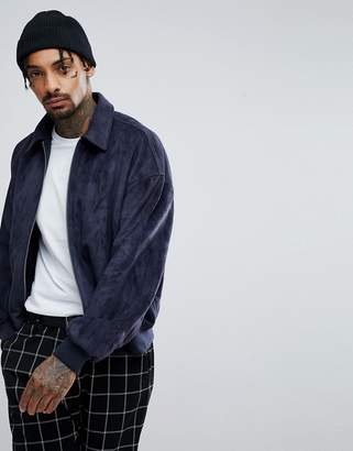 Asos DESIGN oversized faux suede harrington jacket in navy
