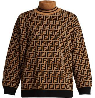Fendi Ff High Neck Cashmere Sweater - Womens - Brown Multi