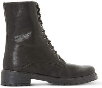 Dune Ladies Black Solid Classic Rayko Lace-Up Leather Boots