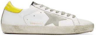 Golden Goose White and Yellow Superstar Sneakers