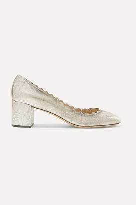 Chloé Lauren Scalloped Metallic Cracked-leather Pumps - Gold