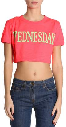 Alberta Ferretti T-shirt Short Stretch Cotton Cropped T-shirt With Wednesday Rainbow Week Print