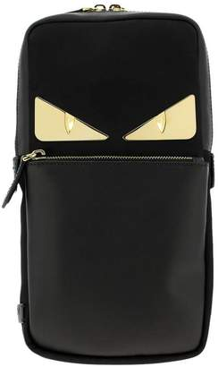 Fendi Bags Monster Eyes One-shoulder Backpack In Leather And Nylon With Bag Bugs Eyes Metallic Patch