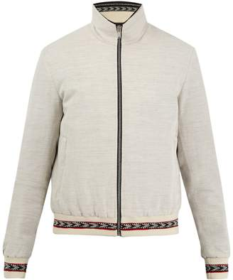 Saint Laurent Contrast-trim zip-through bomber jacket