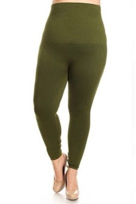 K-Cliffs Lady's High Waist Compression Leggings w/French Terry Lining, Army Green
