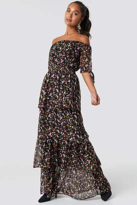 Na Kd Boho Tie Sleeve Off Shoulder Maxi Dress Black/Mixed Flowers