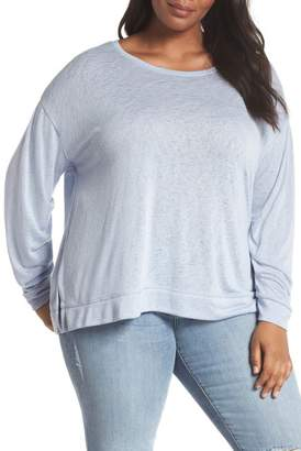 Caslon R R) Tuck Sleeve Sweatshirt (Plus Size)