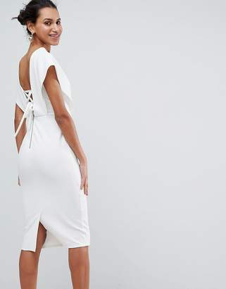 Asos Design Origami Wrap Pencil Dress with Lace Up Back