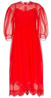 Simone Rocha balloon-sleeve lace-trim tulle dress