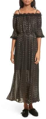 The Kooples Polka Dot Off the Shoulder Maxi Dress