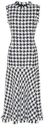 Oscar de la Renta Wool-blend houndstooth midi dress