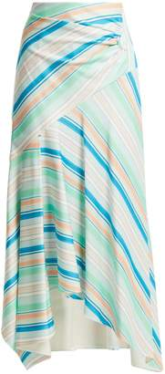 Peter Pilotto Striped asymmetric jersey skirt