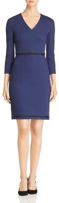 BOSS Hemio Textured V-Neck Dress