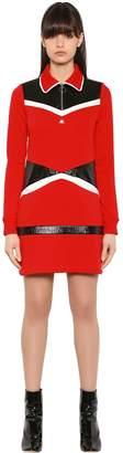 Courreges Faux Patent & Sweatshirt Mini Dress