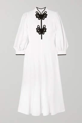Andrew Gn Satin-appliquéd Crepe Midi Dress - White