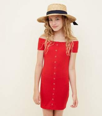 New Look Teens Red Ribbed Bardot Bodycon Dress