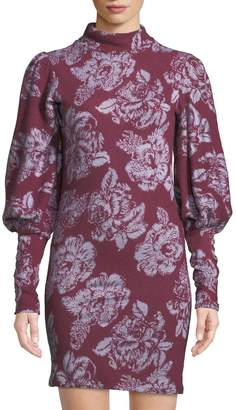 Free People Balloon-Sleeve Floral-Jacquard Sweater Dress, Red