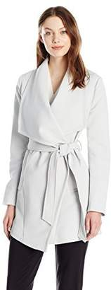 T Tahari Women's Abbey Draped Trench Wrap Coat