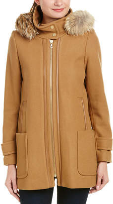 Trina Turk Allyson Leather-Trim Wool-Blend Hooded Duffle Coat