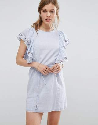 Suncoo Frilled Denim Dress