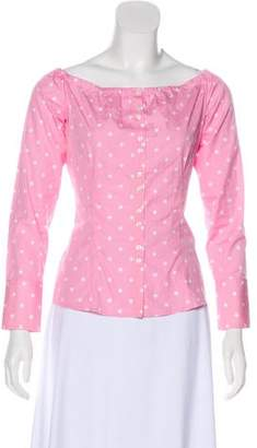 Ralph Lauren Black Label Polka Dot Button-Up Top