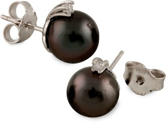 Masako Tahitian Pearl & Stud Diamond Stud Earrings