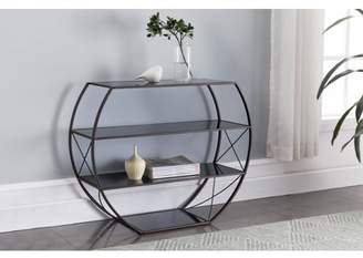 Parker Pilaster Designs Pewter Metal & Black Tempered Glass Modern Entryway Console Table With 4 Storage Shelves