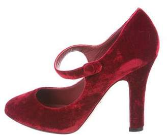 Dolce & Gabbana Velvet Mary Jane Pumps