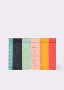 Men's Leather 'Artist Stripe' Print Credit Card Holder