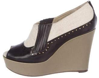 Rochas Brogue Peep-Toe Wedges