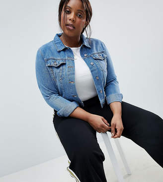 Asos DESIGN Curve denim shrunken jacket in midwash blue