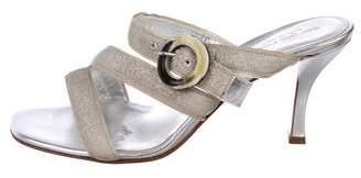 Sergio Rossi Canvas Slide Sandals