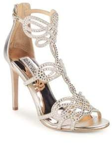 Badgley Mischka Teri Embellished Leather Stiletto Sandals