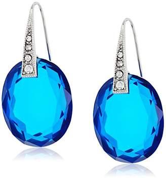 "T Tahari Crystalline Holiday"" Mint Cry Oval Drop Earrings"