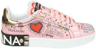 Dolce & Gabbana Portofino Sneakers In Printed Calf Color Pink